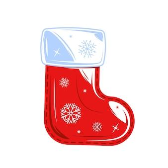 Рождественский носок изолирован. рождественское понятие. мультяшный стиль.
