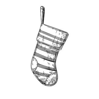 白い背景で隔離のクリスマスの靴下。スケッチ、