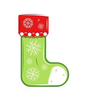 白い背景で隔離のクリスマスの靴下