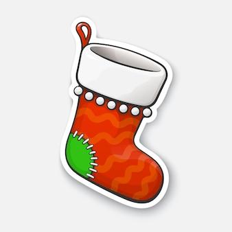 Рождественский носок или чулки для подарков мультяшный забавный стикер векторная иллюстрация