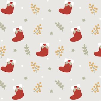 Christmas Sock Seamless Pattern Background