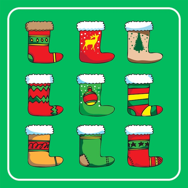 The  christmas sock vector image for holiday concept