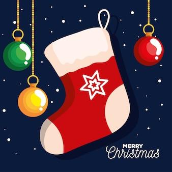 ボールがぶら下がっているクリスマスの靴下、新年のバナーとメリークリスマスのお祝いのデザイン
