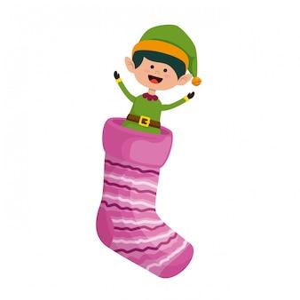 Christmas sock with cute elf