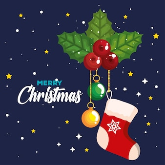 Рождественский носок с декоративными листьями и висящими шарами, баннер нового года и дизайн празднования рождества