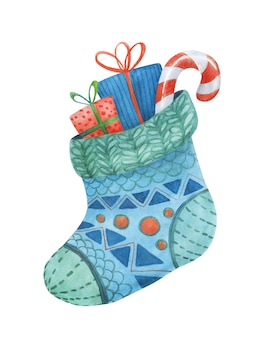 Рождественский носок с подарками и сладостями. симпатичная, иллюстрация к новому году.
