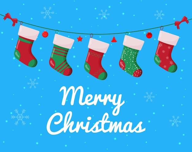 Рождественский носок с подарками внутри зимние аксессуары дизайн зимней открытки