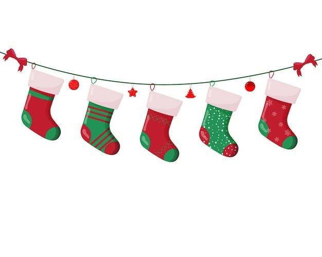 Рождественский носок с подарками внутри. зимние аксессуары.