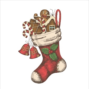 Christmas sock with gingerbread, candies and bells hand-drawn