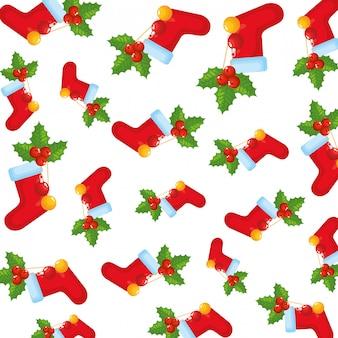 クリスマスの靴下と葉の装飾パターン