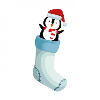 Christmas sock with penguin