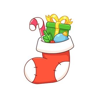 흰색 배경에 격리된 선물이 있는 크리스마스 양말 크리스마스 양말에 선물 묶음