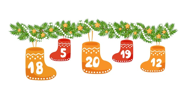 クリスマスの靴下はモミの木の花輪にぶら下がっています。アドベントカレンダーの要素。