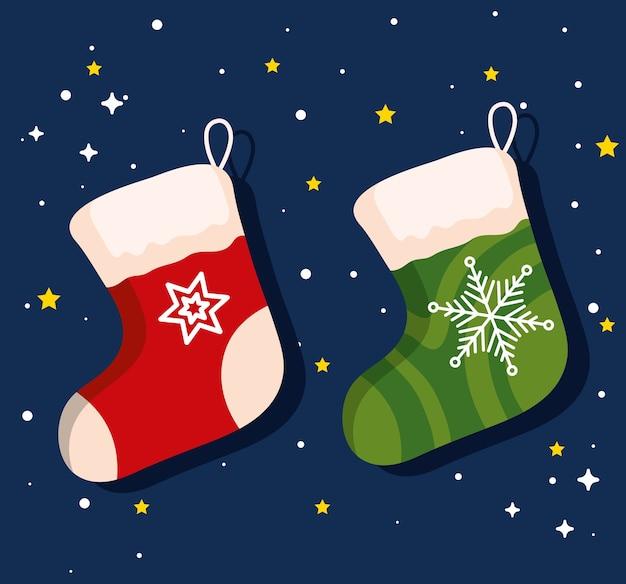 クリスマスの靴下、新年のバナーとメリークリスマスのお祝いのデザイン