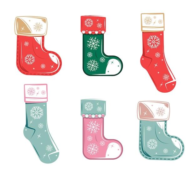 Рождественская коллекция носков, изолированные на белом фоне