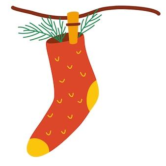 物干しに掛けられたプレゼント用のクリスマスソックス。幸せな冬の休日。クリスマスの飾り。グリーティングカードの空白、新年のデザイン。白い背景で隔離のフラットベクトルイラスト