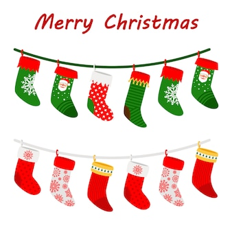 Christmas socks garlands icons on white background