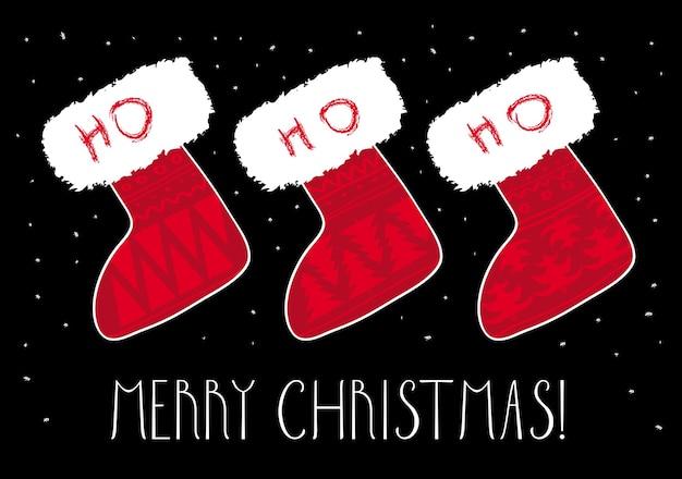 クリスマスソックスグリーティングカード、メリークリスマスバナー。