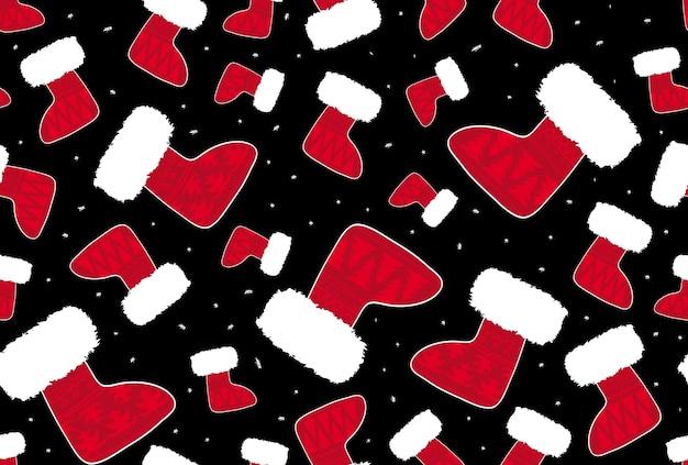 クリスマスの靴下のシームレスなパターン、ベクトルイラスト、壁紙