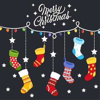 Christmas socks vector.