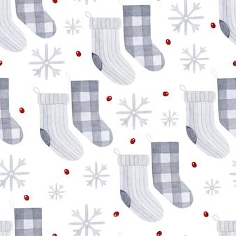 クリスマスソックス水彩シームレスパターン