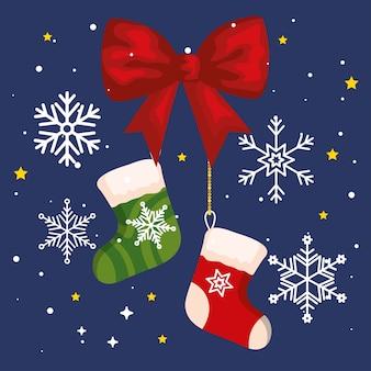 弓のリボンと雪片、新年のバナーとメリークリスマスのお祝いのデザインのクリスマスソックス