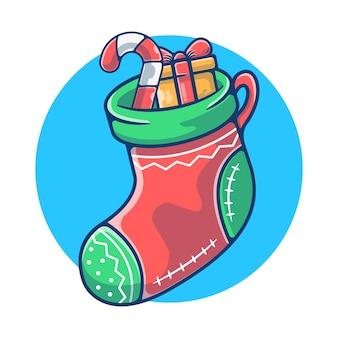 Рождественские носки с конфетой и подарочной коробкой