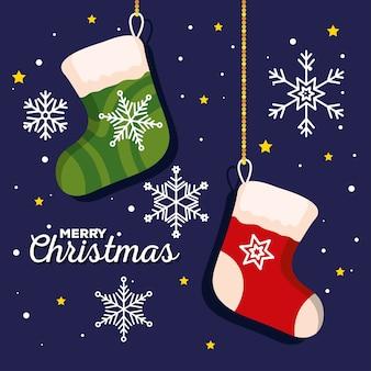 雪片の装飾が施されたクリスマスソックス、新年のバナーとメリークリスマスのお祝いのデザイン