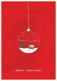 Christmas souvenir glass ball with winter house inside snowdrifts snowfall and christmas trees