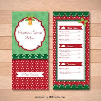 Шаблон специальное меню рождество в стиле винтаж