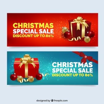 クリスマスの特別な贈り物のバナーを提供しています