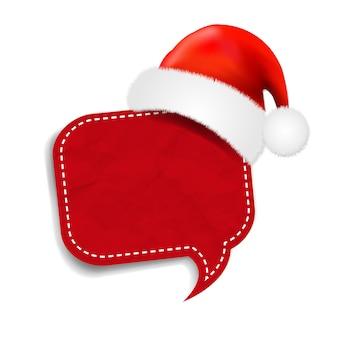Christmas speech bubble with santa claus cap