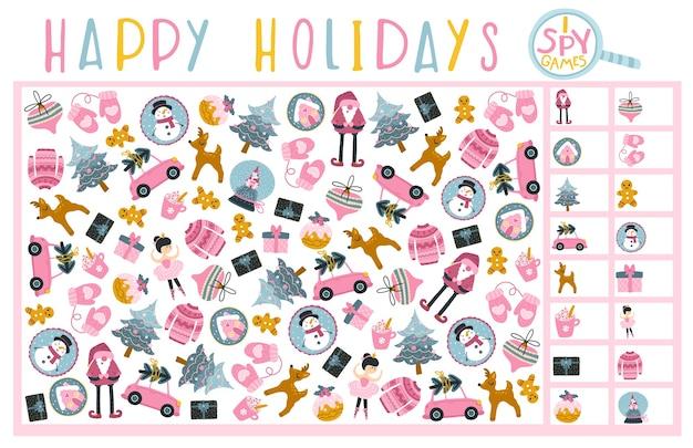 Рождественская шпионская игра. найдите и запишите сколько. настольная игра для развития ребенка. веселые праздники.