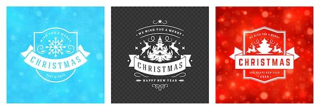 クリスマスの正方形のバナーヴィンテージ活版印刷デザイン華やか