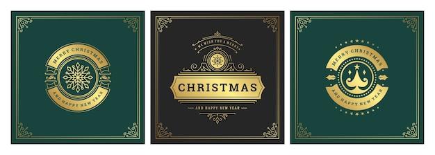 크리스마스 사각 배너 빈티지 인쇄상의 디자인