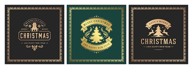 Christmas square banners vintage typographic , ornate decorations symbols  illustration