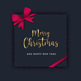 Рождественская квадратная открытка с красным блеском и бантом