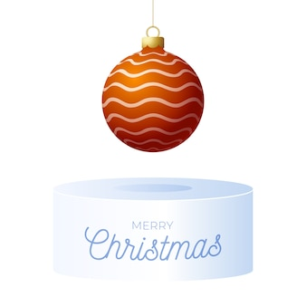 Christmas square greeting card banner with tree ball and pedestal. holiday illustration with realistic ornate colorful christmas ball on white background.