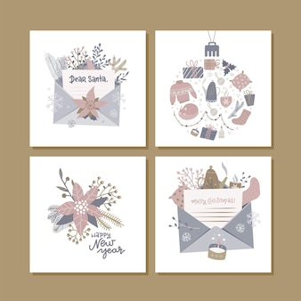 Christmas square greeting cards with cute hygge ilustration and holiday lettering wishes. printable hand drawn cards templates. seasonal labels design.