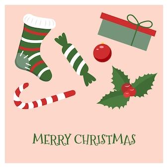 休日をテーマにしたオブジェクトが入ったクリスマスの正方形のポストカード。ベクトルイラスト。