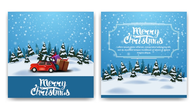 Christmas square two-sided postcard with cartoon winter landscape
