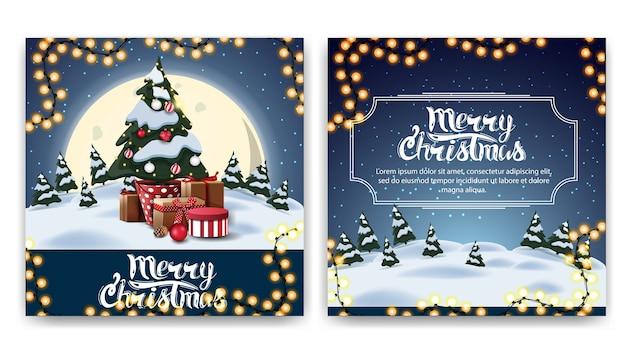Новогодняя квадратная двусторонняя открытка с мультяшным зимним пейзажем