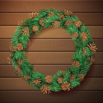 松の花輪とクリスマスの正方形の木製の背景。ガーランドの針と円錐形の松の枝。高詳細なテンプレート。