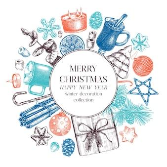 Рождественский квадратный венок дизайн нарисованный от руки праздник элементы фона