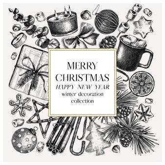 Рождественский квадратный венок дизайн нарисованные вручную праздничные элементы украшения дерева традиционные сладости и