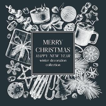 Рождественский квадратный венок на доске нарисованные от руки праздничные элементы