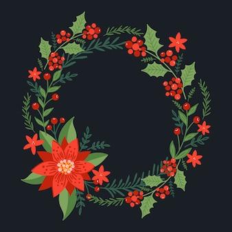Рождественский квадратный венок с пуансеттия и ветвями сосны. праздничная рамка.