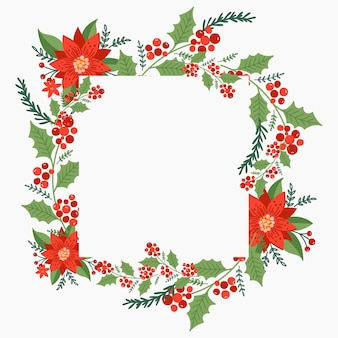 Christmas square wreath with poinsettia and pine tree branches. holiday frame.