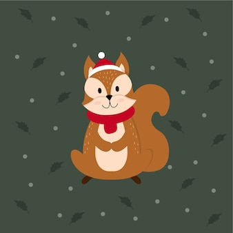Christmas squirrel character illustration