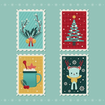 Christmas stamp collection flat design